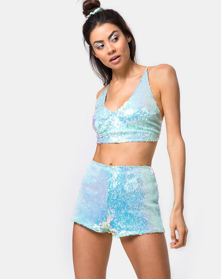 Crystal Short in Fishcale Disc Sequin Marine Blue by Motel