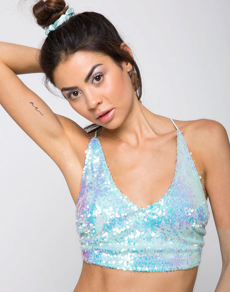 Truman Crop Top in Fishcale Sequin Iridescent Black Pearl by Motel