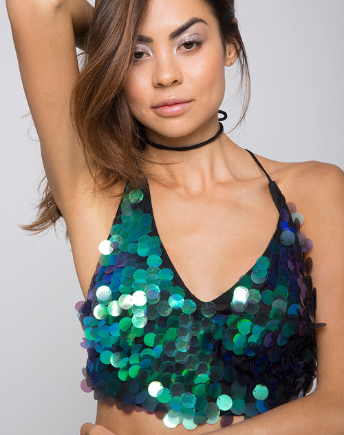 Angel Crop Top in Fishcale Disc Sequin Aqua Iridescent by Motel