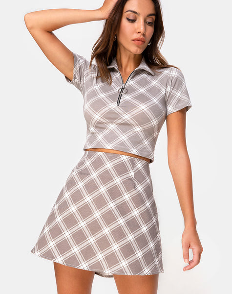 Annie Skirt in Grunge Check Taupe by Motel
