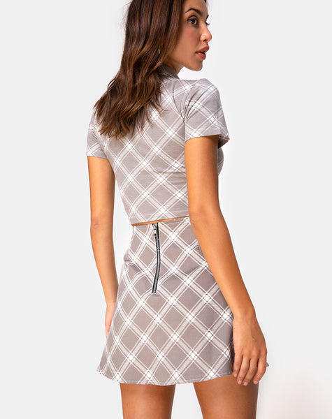 Annie Skirt in Grunge Check Taupe