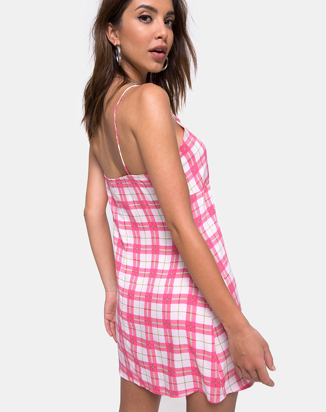 Anoma Slip Dress in Picnic Check Pink by Motel