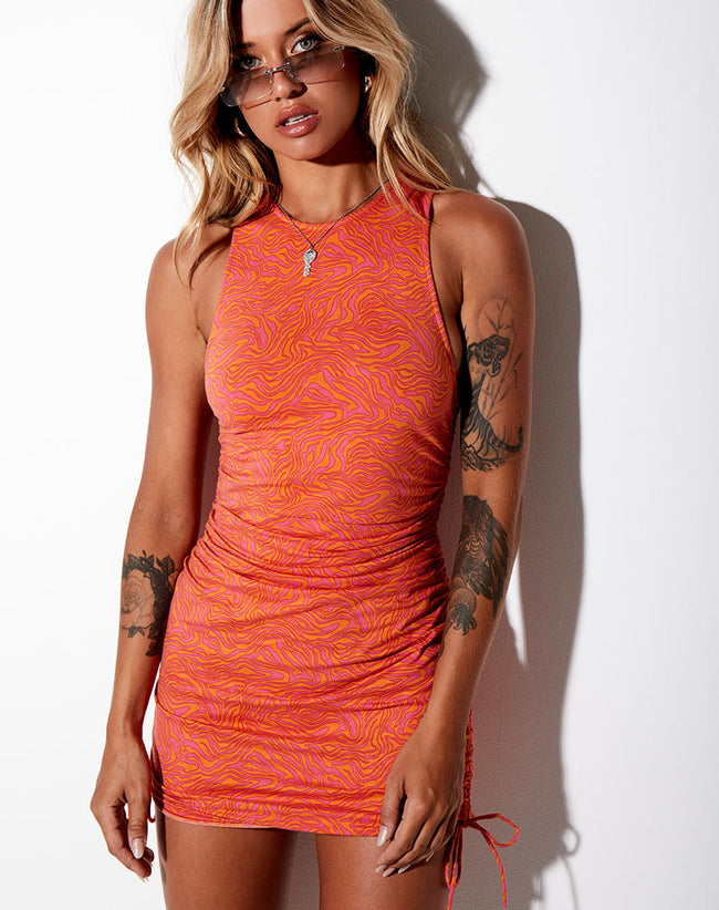 Ardilla Bodycon Dress in Trippy Waves Tangerine and Pink