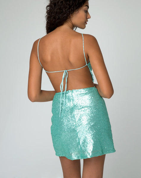 Weaver Skirt in Peppermint Mini Sequin by Motel