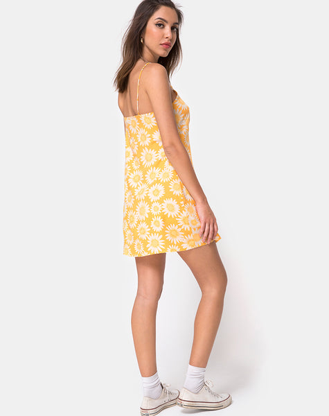 4ca116fbb40bc Auvaly Slip Dress in Sunkissed Floral Yellow by Motel – motelrocks.com
