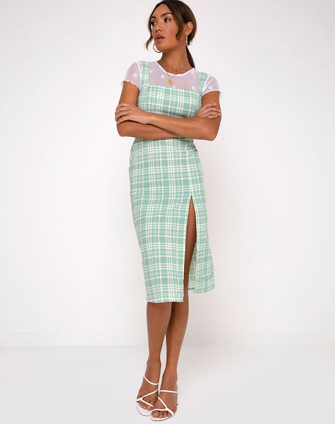 Ayuka Midi Dress in Table Cloth Neo Mint by Motel