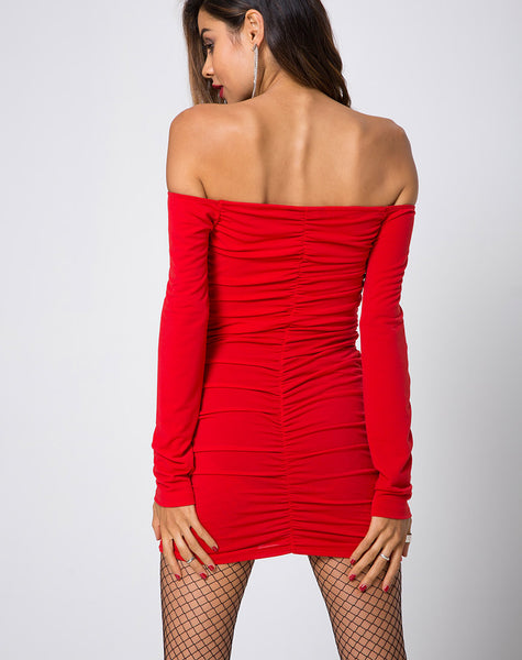 Azalea Off The Shoulder Dress in Red by Motel