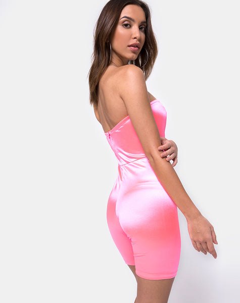 Bandeau Unitard in Fluro Pink Satin by Motel