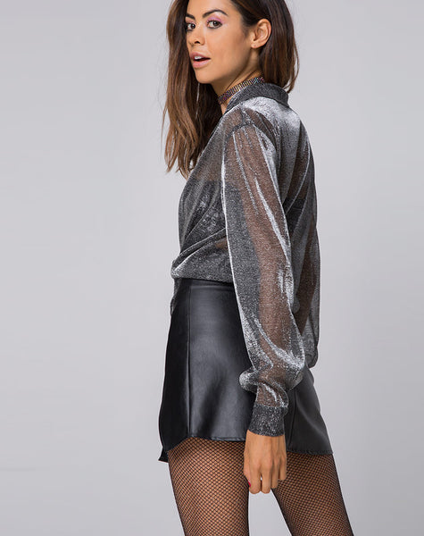 Phobe Blouse in Metallic Shine Net Silver by Motel