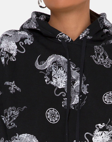 Roky Cropped Hoody in Dragon Black by Motel