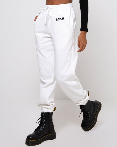 "Basta Jogger in White with ""Angel"" Embro Black by Motel"
