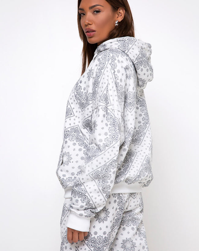 Oversize Hoody in Bandana Ecru Placement by Motel