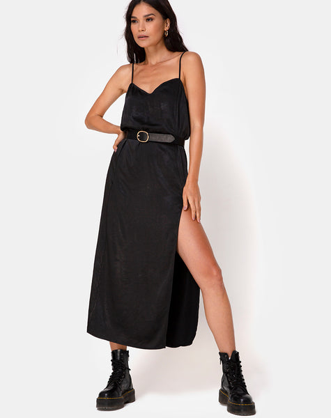 Batis Maxi Dress in Satin Black
