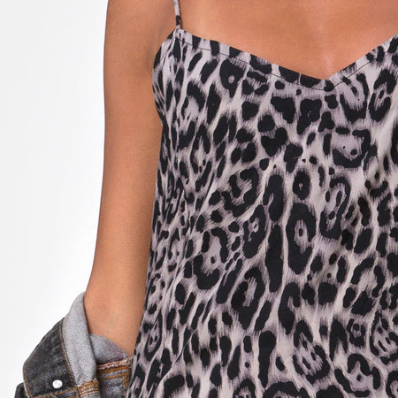 Batis Maxi Dress in Leopard Grey