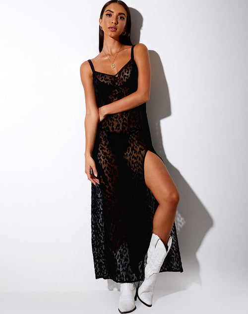 Batis Maxi Dress in Animal Black Net