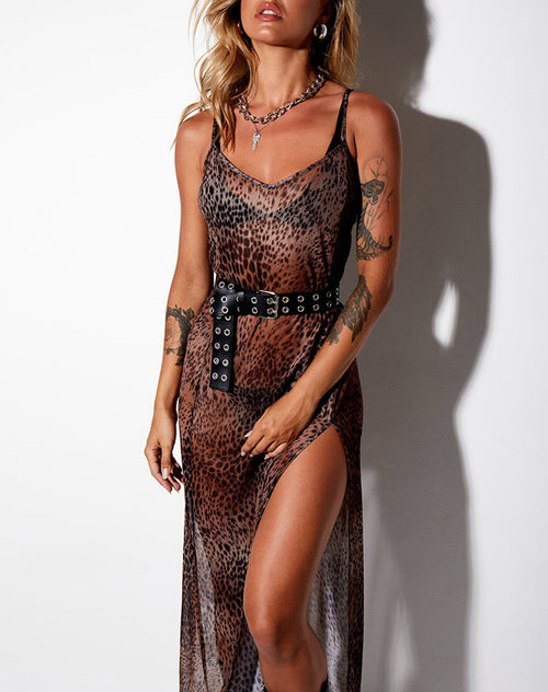 Batis Maxi Dress in Mesh Gradient Cheetah Brown