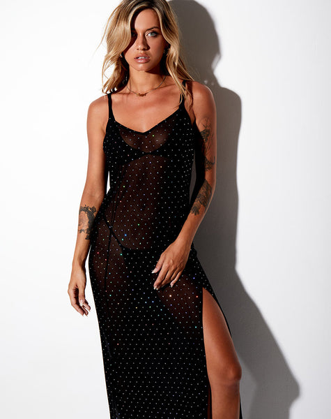 Batis Maxi Dress in Crystal Net Black