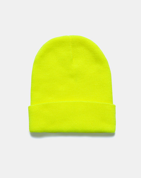 Beanie Hat in Highlighter Yellow by Motel