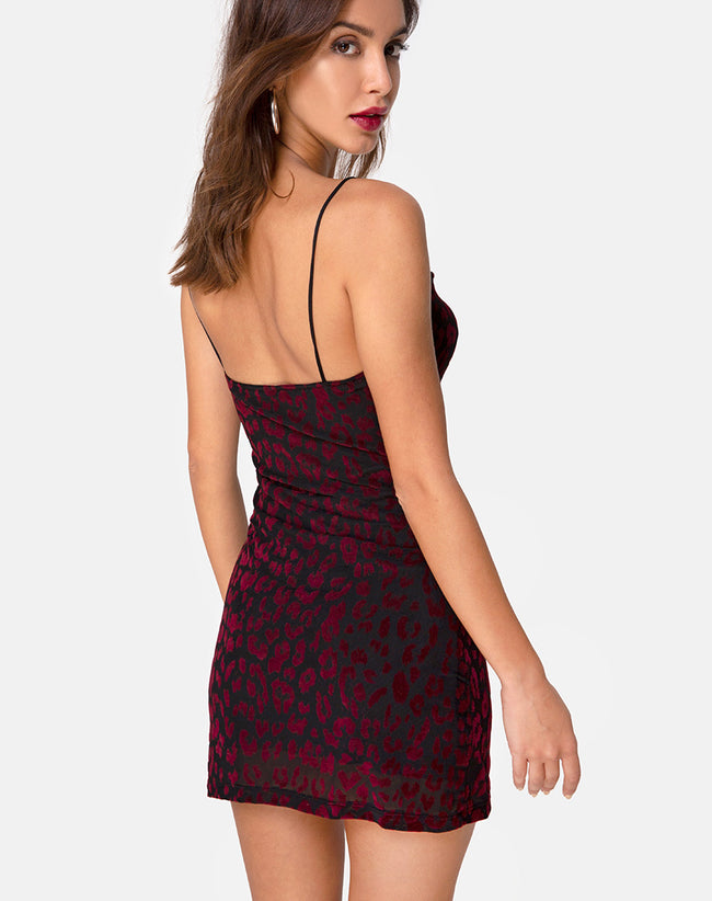 Becky Dress in Red Leopard Net by Motel
