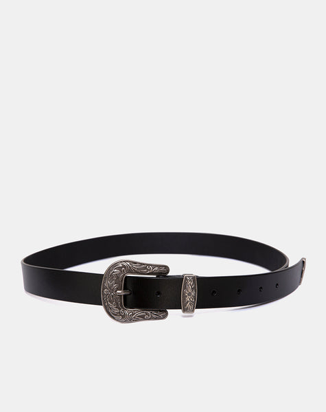 Black Vintage Western Belt with Silver Buckle