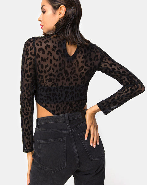 Berani Highneck Bodice in Animal Black Net By Motel