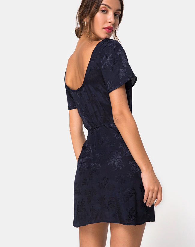 Voine Skater Dress in Satin Navy by Motel