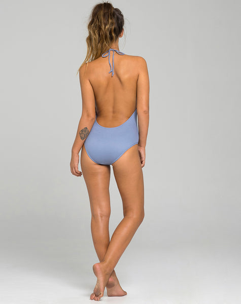Beth Plunge Swimsuit in Denim Look Light Wash by Motel
