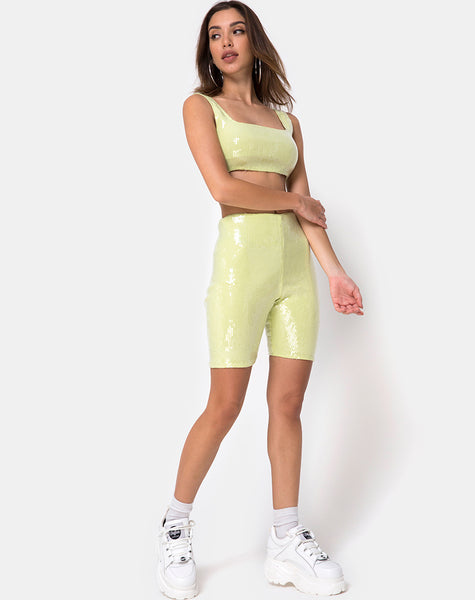 Bike Short in Pistachio Green with Clear Sequins by Motel