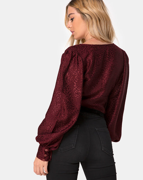 Bina Crop Top in Satin Cheetah Burgundy