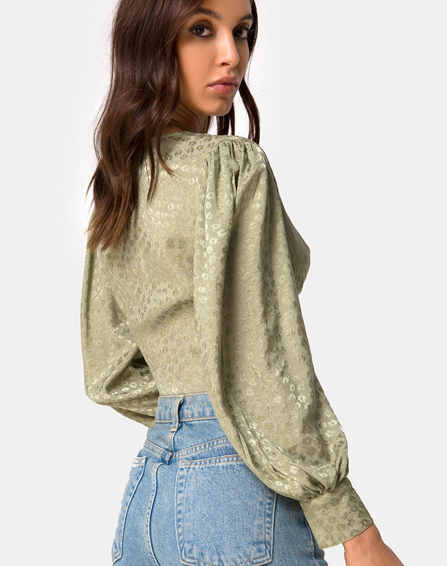 Bina Long sleeve Top in Satin Ditsy Rose Sage by Motel