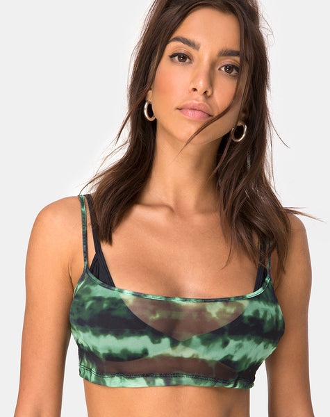Blink Crop Top in Tie Dye Turquoise Mesh by Motel