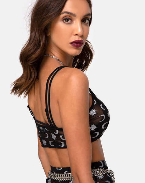 Blink Crop Top in Over The Moon Black with Glitter by Motel