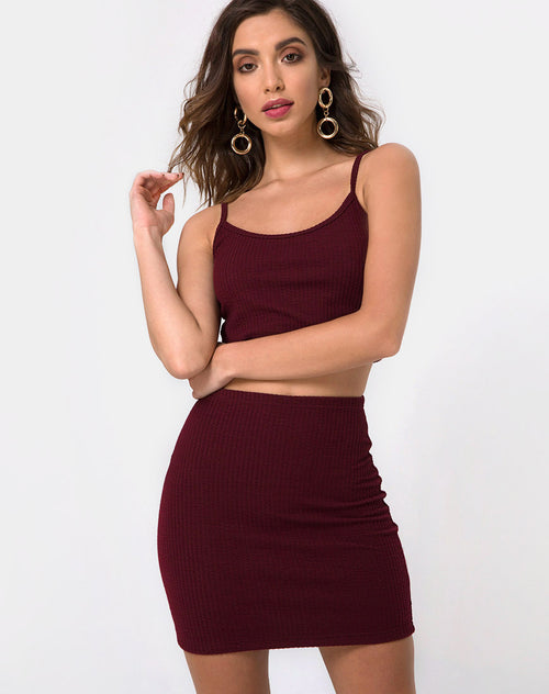 Kimmy Bodycon Skirt in Burgundy by Motel