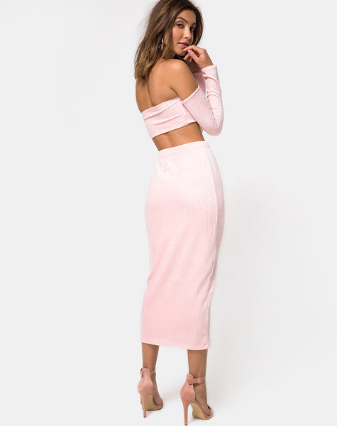 Bobby Midi Skirt in Fluffy Knit Candy by Motel