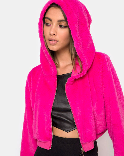 Bomb Hoody in Fur Zip Magenta by Motel