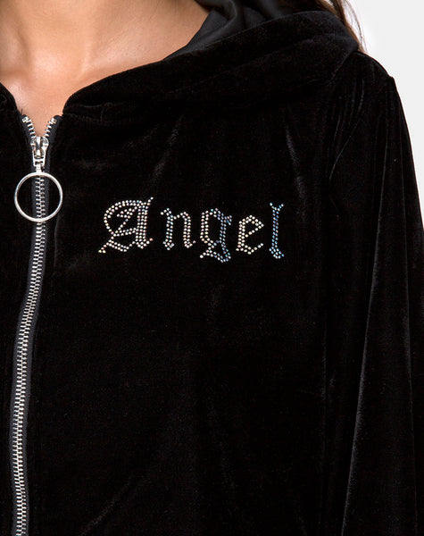 Bomb Hoodie in Black with Angel Diamante Hot Fix by Motel