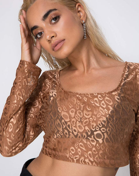 Bon Top in Leopard Sheen Net Caramel by Motel