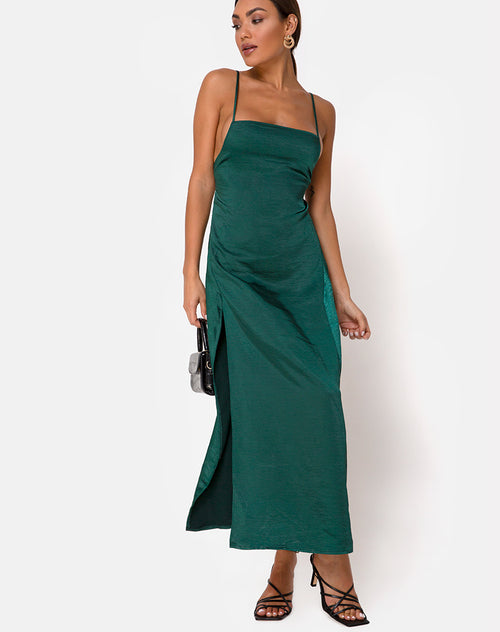 Bonita Maxi Dress in Satin Forest Green