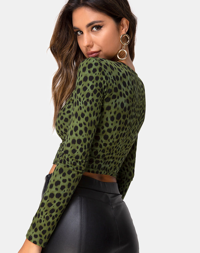 Bonnie Crop Top in Cheetah Khaki by Motel