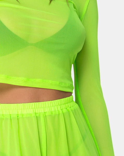 Bonnie  Crop Top in Fluro Yellow Net by Motel