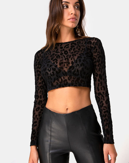 Ozka Crop Top in Satin Black