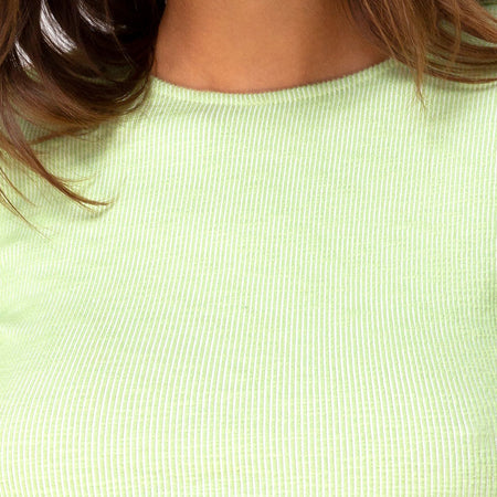 Bonnie Crop Top in Rib Pastel Lime by Motel