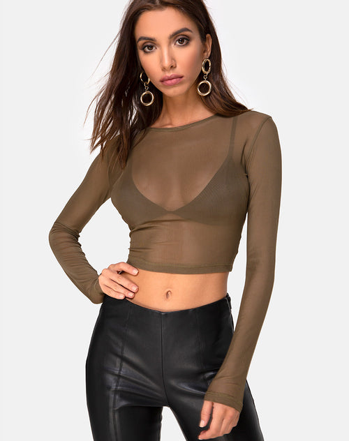 Bonnie Top in Net Khaki by Motel