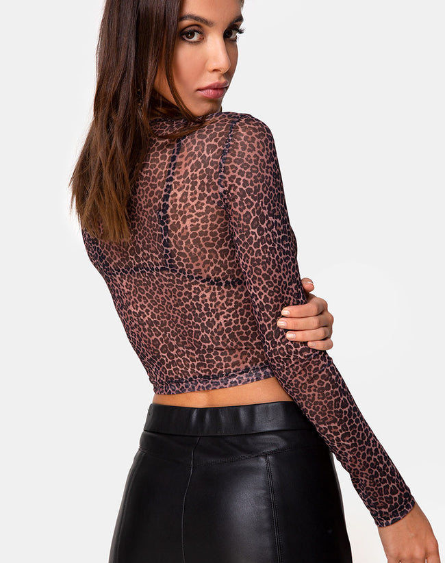 Bonnie Crop Top in Rar Leopard Mesh by Motel