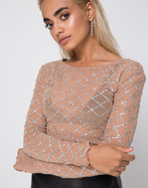 Bonnie Crop Top in Cross Linked Glitter Net Tan by Motel