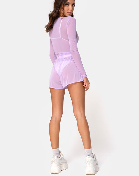 Bonnie Crop Top in Net Lilac by Motel