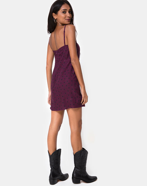 Boyasly Slip Dress in Skater Polka Wine by Motel