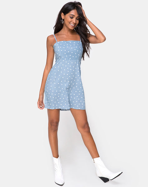 Boyasly Slip Dress in Skater Polka Blue by Motel