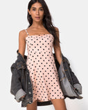 Boyasly Slip Dress in New Polka Nude Black by Motel