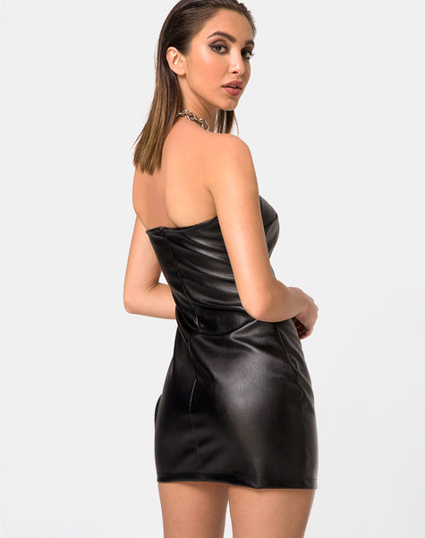 Brandy Bodycon Dress in Vegan Leather Black by Motel